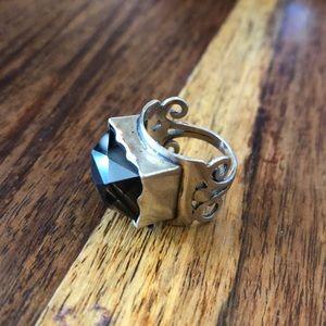 Boho Sterling Silver & topaz ring 5.5